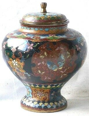 C19Th Japanese Cloisonne Pot And Cover With A Butterfly Design