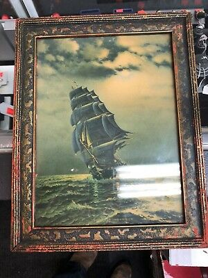 Antique Print Old Ironsides Ship USS Constitution 12'' by 9''