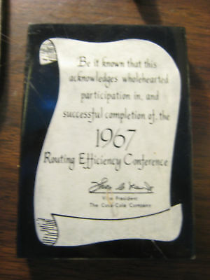 1967 Coca-Cola Routing Effeciency Conference Paperwieght