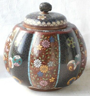 C19Th Japanese Cloisonne Pumpkin Shaped Pot And Cover