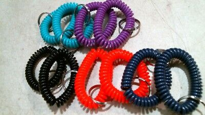 Lot of 10 pc Spiral Wrist Coil Key Chains, 5 Colors, FS