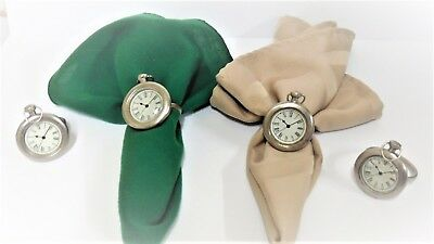 Napkin Rings with false clock face and hands  silver color metal