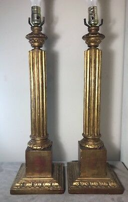 Pair Of Italian Carved And Gilt Wood Lamps MCM Vintage