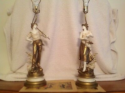"""Pair Of Amazing Condition August Moreau Signed Lamps 36""""to Socket 9""""base"""