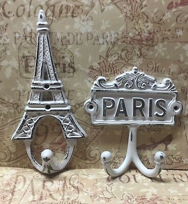 Pair Of Cast Iron Eiffel Tower And Paris Hooks Distressed White French Decor