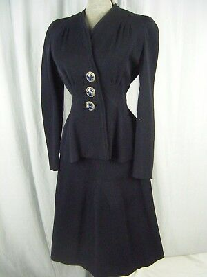 NEUSTETERS Vtg 1940s Navy Wool Tailored Jacket & Skirt-Bust 34/Waist 25/2XS