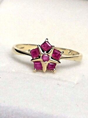 10K Yellow Gold .40 Carat Natural Ruby Ring