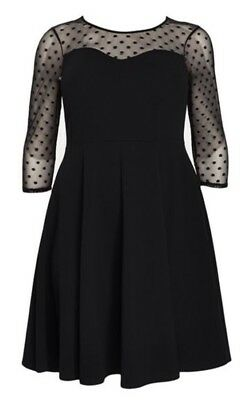 1ddd39099f7 EX EVANS BLACK Spot Mesh Flute Sleeve Fit and Flare Party Dress PLUS ...