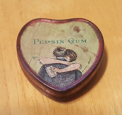Vintage Pepsin Gum Tin Box Case Red Antique Love Hugging