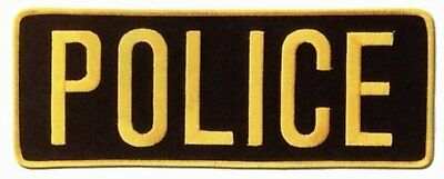 "POLICE Officer Large Uniform BACK PATCH Badge Emblem Insignia 11""x 4"" GOLD BLACK"