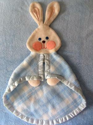 1979 Fisher Price BUNNY Rabbit BLUE PLAID Lovey Security Blanket Toy CLEAN