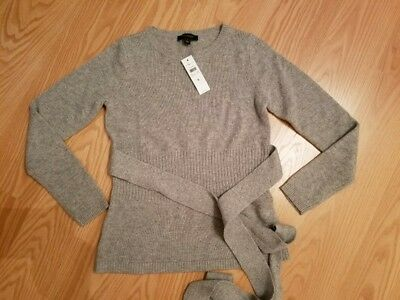 NWT Ann Taylor Cashmere Belted Sweater Grey Size S