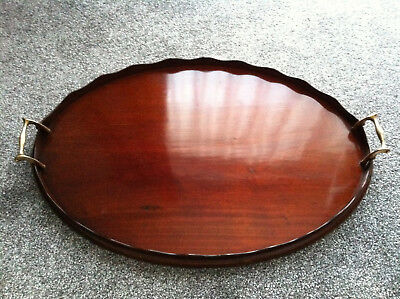 Edwardian Mahogany Fluted Galleried Tray with Brass Handles