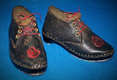 ANTIQUE TAP DANCING SHOES VICTORIAN TAP DANCING BABY 12cm HANDMADE LEATHER GC