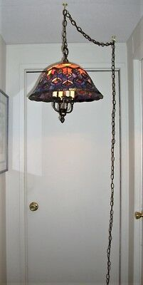 Vintage Tiffany Style, Peacock Feathers Stained Glass Hanging, 4 Light Swag Lamp