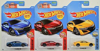 "2016 2017 Hot Wheels: '17 ACURA NSX ""Blue Red & Yellow"" 1st. Edition - 3 Car LOT"