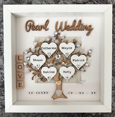 Handmade Personalised Pearl 30th Wedding Anniversary Family Tree Gift Frame