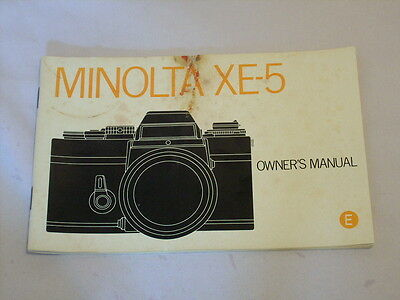 MINOLTA XE-5 OWNER'S MANUAL/INSTRUCTION BOOK (same as sold w/camera purchase)