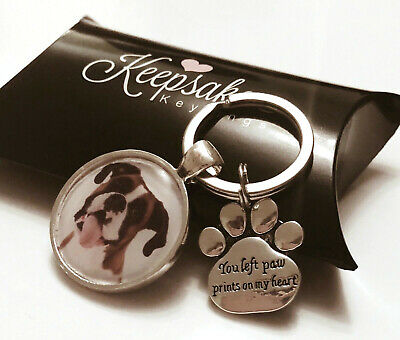 Personalised Photo Keyring Left Paw Prints Dog Pet Memory Loss Present Gift Box