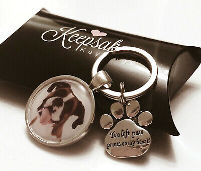 Personalised Photo Keyring Paw Prints Cat Dog Pet Memory Loss Present Gift Box