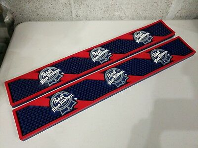 2 Vintage Pabst Blue Ribbon Bar Service Mats - PBR Red white and blue (#4356)