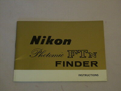 NIKON PHOTOMIC FTn FINDER INSTRUCTIONS 29 PAGES (as supplied w/finder when purch