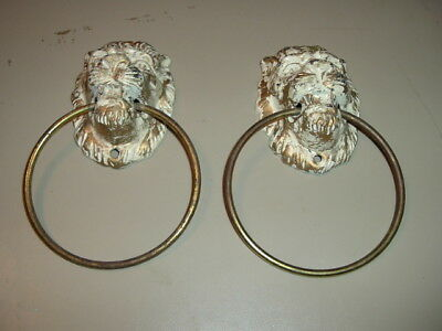 Vintage Antique Lion Head Lot of 2 Cast Iron Drawer Cabinet Pulls
