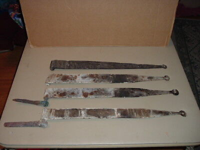 Vintage Barn Door Strap Iron Gate Hinges Lot of 4 Old Primitive Hardware 24 1/4""