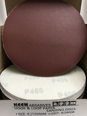 "25- 400 Grit  6"" Dia Hook & Loop Sandpaper KEEN Abrasives 33108"