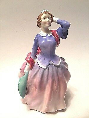 "Royal Doulton Figurine ""Blithe Morning"" Pink Skirt Bone China England HN2021"