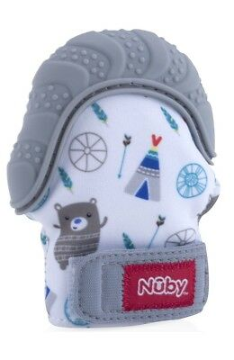 New Nuby Soothing Teething Mitten with Hygienic Travel Bag Grey Free Shipping