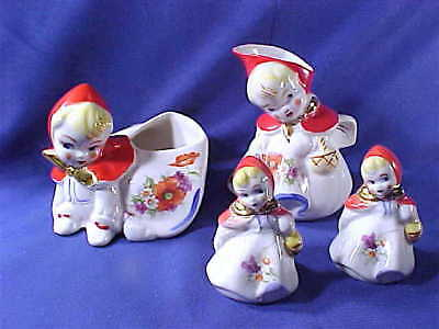 4 pc. Vintage Hull Pottery Little Red Riding Hood sugar creamer s&p shakers