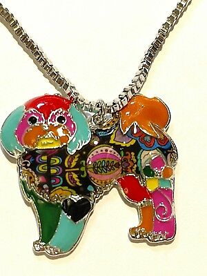 Bonsny Shih Tzu Dog Pup Jewelry Pendant Necklace Multicolor Alloy