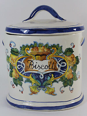 J. Peterman Co. Made in Italy Large Ceramic Biscotti Cookie Jar with Lid