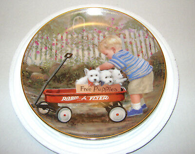 Puppy Love By Donald Zolan Radio Flyer Limited Edition Collector Plate Nice Gift
