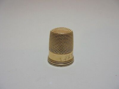 ESTATE Vintage ANTIQUE 1905 14K Yellow GOLD SEWING THIMBLE Size 9 Monogrammed