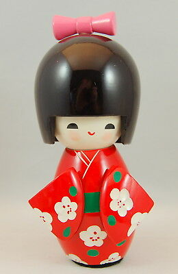 Kokeshi Japanese Sakura Flower Print Red Girl With Pink Bow 6 Inches Tall