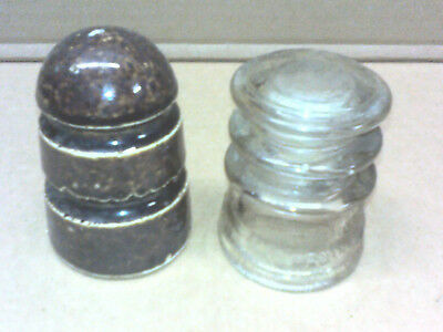 Old Antique Vintage glass brown ceramic electrical electric insulators lot of 2