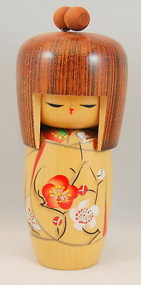 Kokeshi Japanese Wooden Doll Wood In Color With Red & White Flowers Stamped