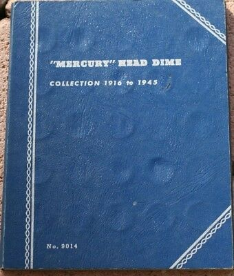 COLLECTION of 69 (out of 77) DIFFERENT MERCURY DIMES in a WHITMAN ALBUM