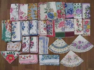 LOT OF 30 VINTAGE FLORAL HANKIES HANDKERCHIEFS Bright Colorful Spring Flowers