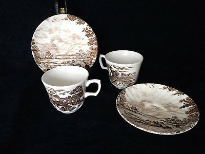 Ridgway Staffordshire 'Country Days' Hand Engraved Set of Cups & Saucers