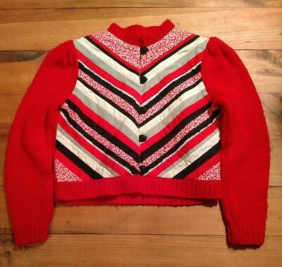 Vintage Hand Made Red Cardigan Sweater with Quilted Front Size M
