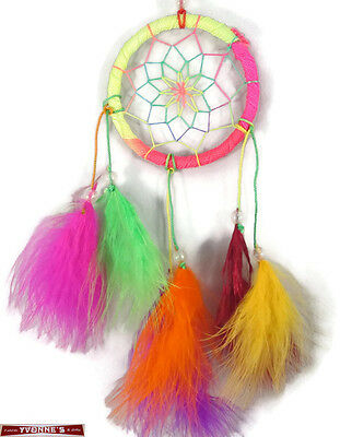 """3.5"""" Multi-color Dream Catcher With Beads & Feathers Wall Or Car Decoration"""