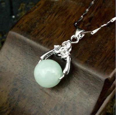 100% Natural Hand-carved Chinese Jade pendant Insert Silver carving