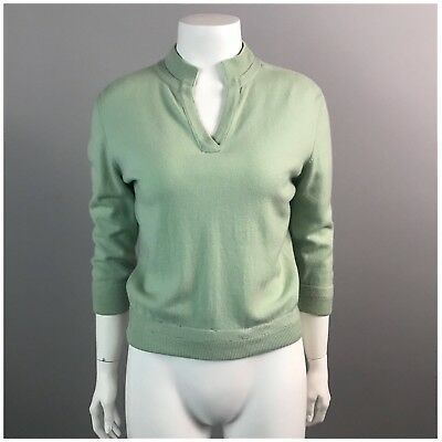 Vintage 1950s Mint Green Cashmere Sweater by Ballantyne Rockabilly Small