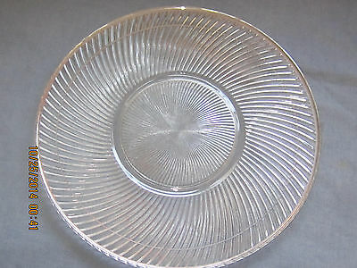 Glass Serving Plate- 11-1/2 Inch Swirled Glass with Silver Accent Lines and Edge