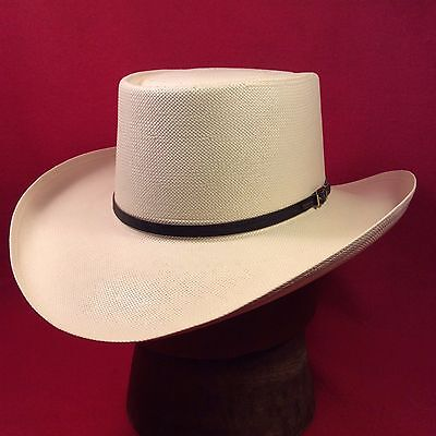 d7da7b783afeb Cream Resistol 6X Western Gambler Straw Hat with Black Leather Band --Size  6 3