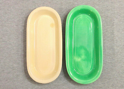 Lot of 2 Vintage Fiesta Utility Trays (1938-1944) - Green & Ivory
