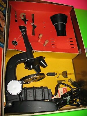 Vintage Gilbert Microscope and Lab Set # 13021 Metal Tin - Almost Complete